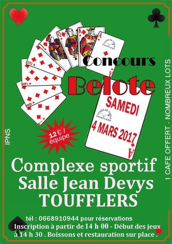 Affiche Concours de belote 4 mars 2017 Toufflers - Nord