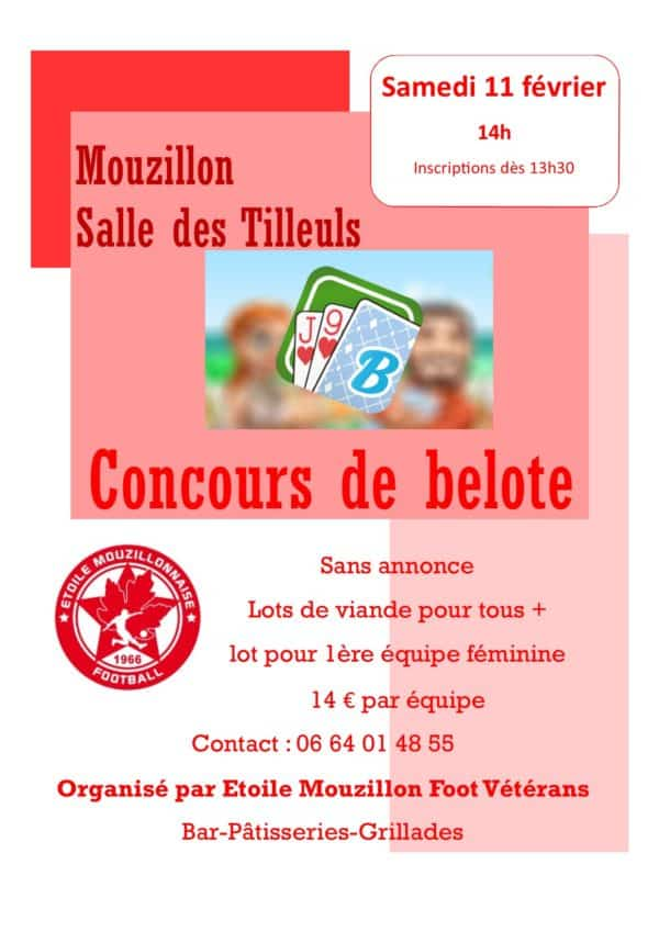 Affiche du Concours de belote le 11 février 2017 à Mouzillon (44)
