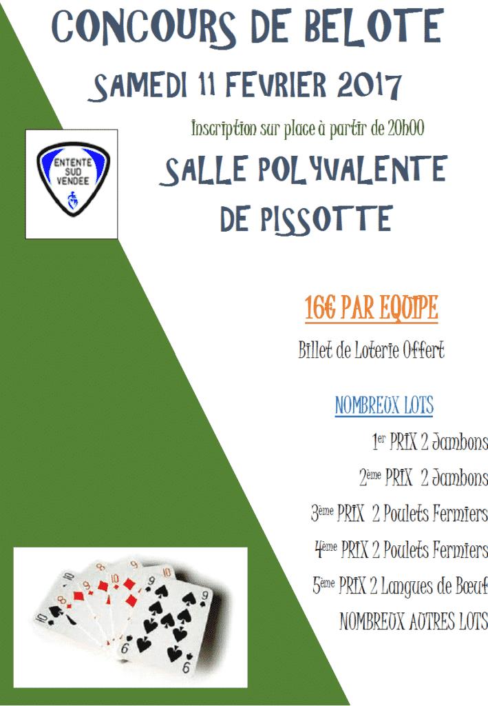 Affiche du Concours de belote samedi 11 fevrier 2017 à Pissotte