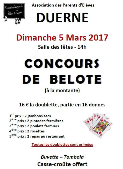 Affiche Concours de belote dimanche 5 mars 2017 à Duerne - Rhône