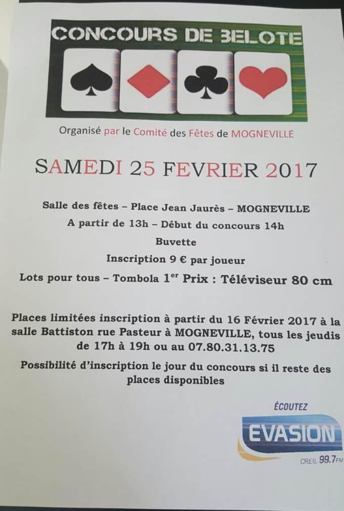 Affiche du Concours de belote samedi 25 février 2017 à Mogneville - Oise