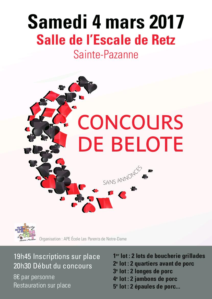 Affiche du Tournoi de belote le 4 mars 2017 à Sainte-Pazanne