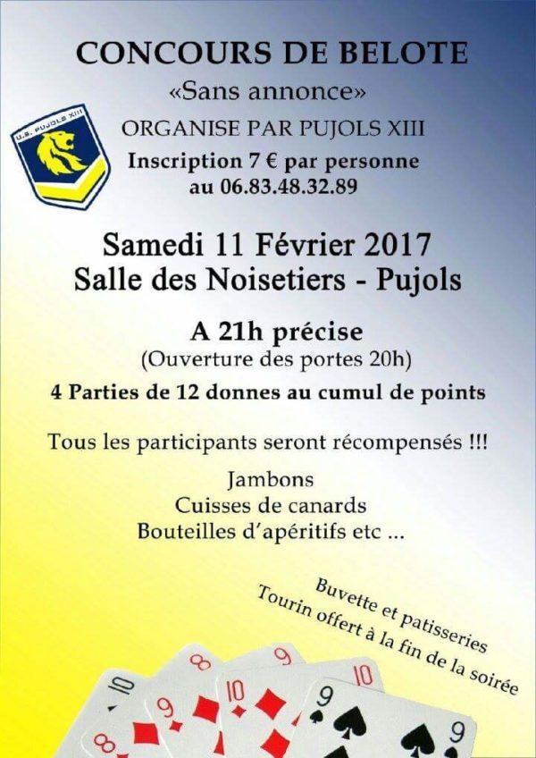 Concours de belote samedi 11 février 2017 à Pujols 47300