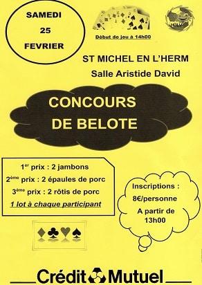 Affiche du concours de belote samedi 25 février 2017 à Saint Michel en l'Herm