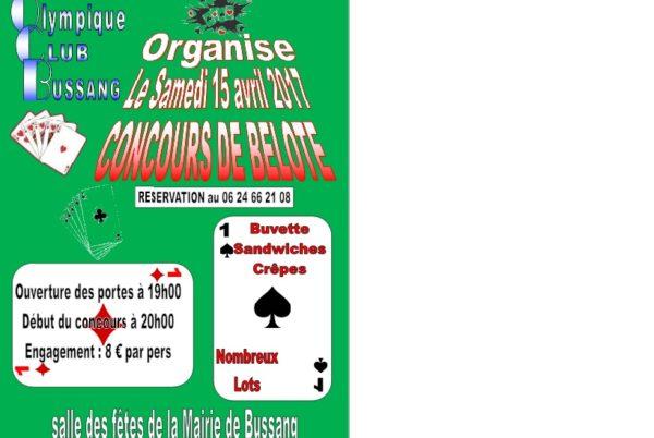 Concours de belote le 15 avril 2017 à Bussang – Vosges