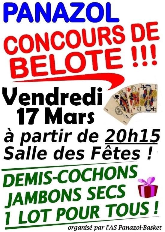 Affiche Concours de belote le 17 Mars 2017 à Panazol - Haute Vienne