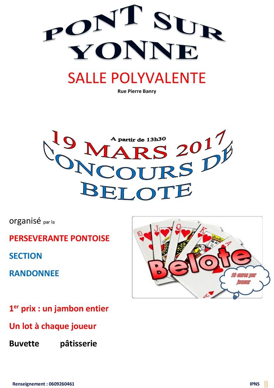 Concours de belote le 19 mars 2017 à Pont sur Yonne