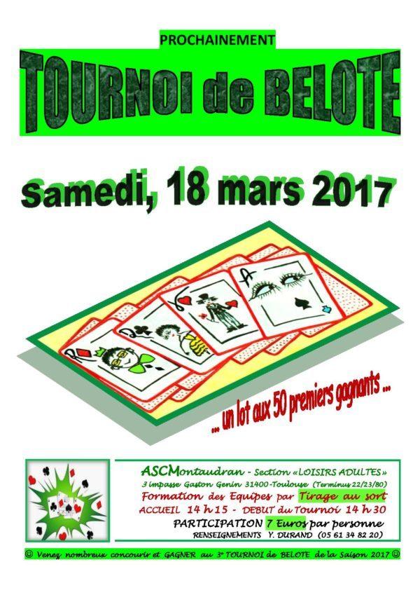 Affiche Tournoi de belote le 18 mars 2017 à Toulouse Montaudran