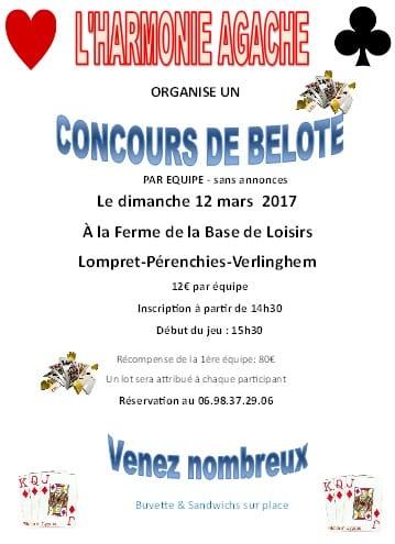 Affiche Concours de belote dimanche 12 mars 2017 à PERENCHIES - Nord