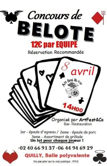 Affiche Concours de belote samedi 8 avril 2017 à Quilly - Loire Atlantique