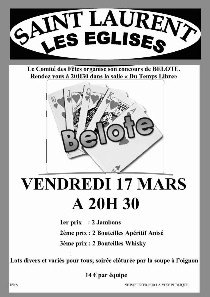 affiche Concours de belote 17 mars 2017 à Saint Laurent Les Eglises