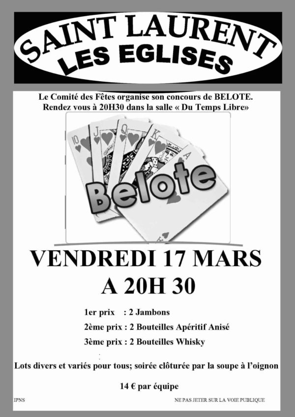 Concours de belote 17 mars 2017 à Saint Laurent Les Eglises