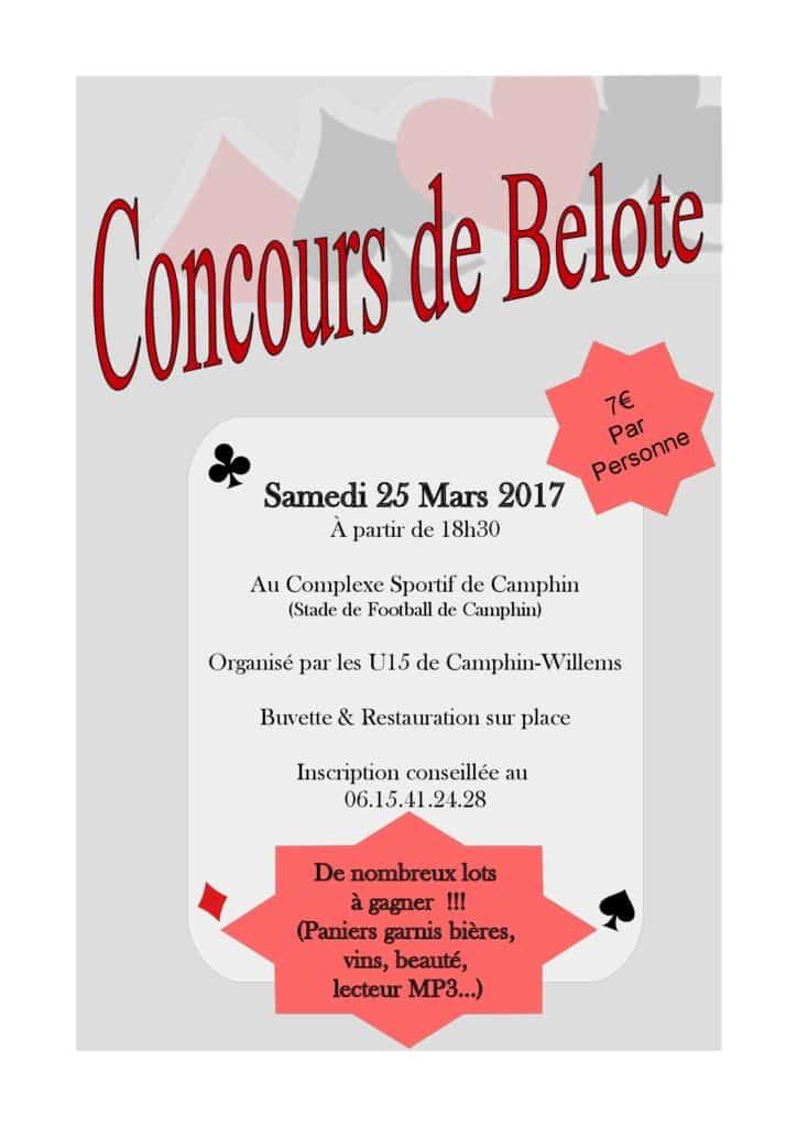 affiche Tournoi de belote le 25 mars 2017 à Camphin en Pevele (59)