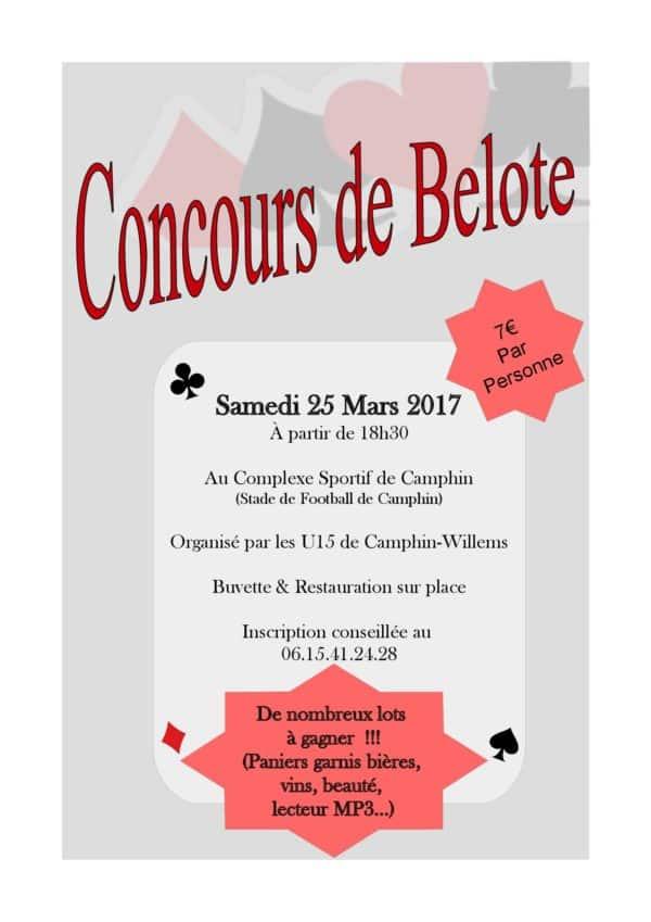 Tournoi de belote le 25 mars 2017 à Camphin en Pevele (59)