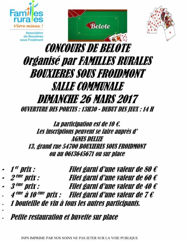 Affiche concours de belote dimanche 26 mars 2017 à Bouxieres sous Froidmont 54700