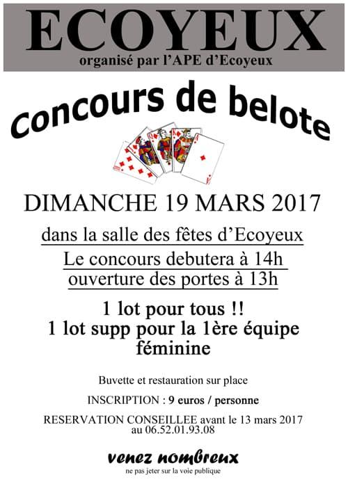 concours de belote à Ecoyeux 17770 le 19 mars 2017