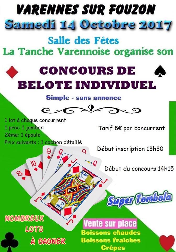 Concours de belote individuel sans annonce le 14 octobre 2017 à Varennes sur Fouzon