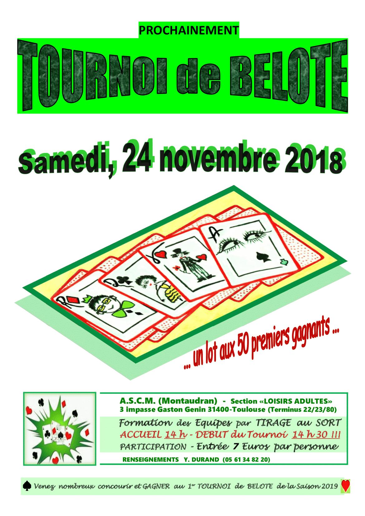 Tournoi de belote le 24 novembre 2018 Toulouse Montaudran – Haute Garonne
